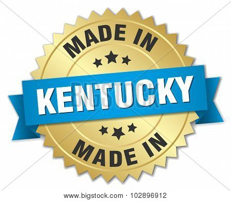 Made In Kentucky Gold Badge With Blue Ribbon