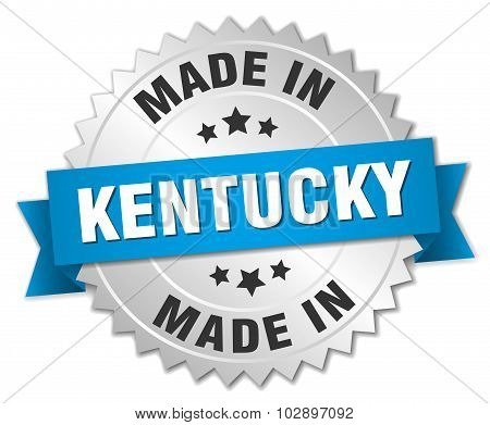 Made In Kentucky Silver Badge With Blue Ribbon