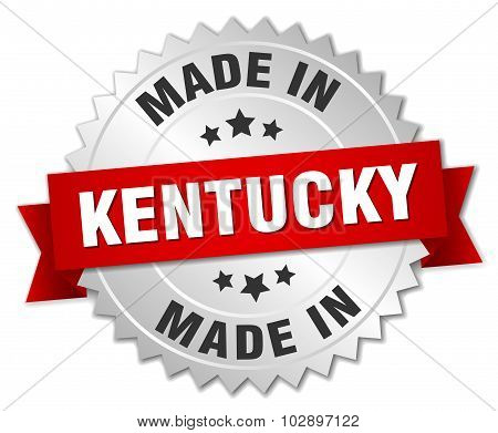 Made In Kentucky Silver Badge With Red Ribbon