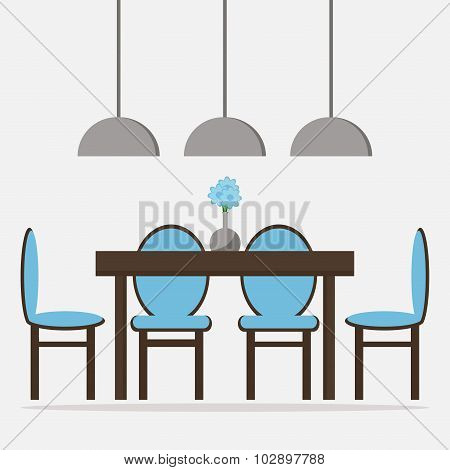 Dining room isolated icon. Dining table with chairs and decoration. Wooden furniture.