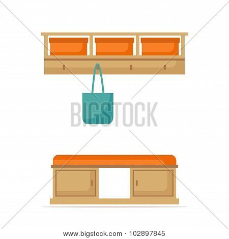 Hall room interior design. Isolated hall icon. Hall elements on white background.