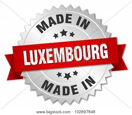 Made In Luxembourg Silver Badge With Red Ribbon