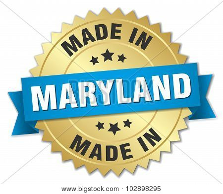 Made In Maryland Gold Badge With Blue Ribbon