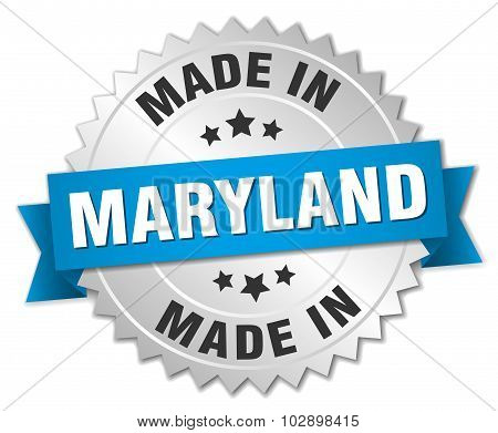 Made In Maryland Silver Badge With Blue Ribbon