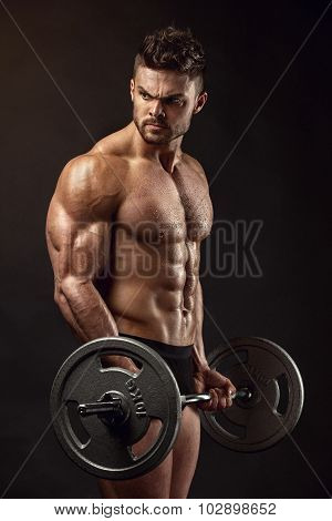 Muscular Bodybuilder Guy Doing Exercises With Big Dumbbell Dumbbell