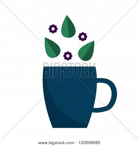 Herbal tea icon with cup, tea leaves and flowers. Tea cup icon.