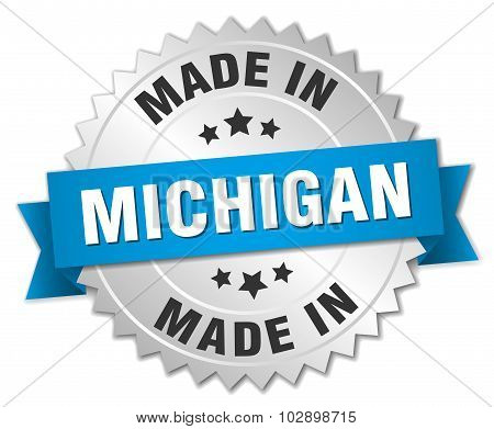 Made In Michigan Silver Badge With Blue Ribbon
