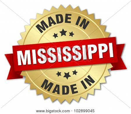 Made In Mississippi Gold Badge With Red Ribbon