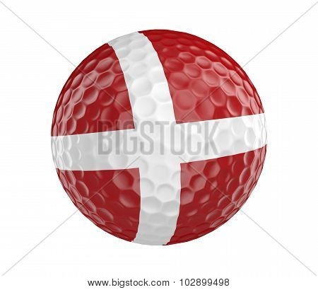 Golf ball 3D render with flag of Denmark, isolated on white