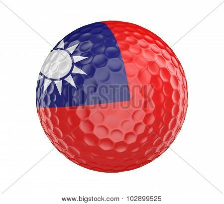 Golf ball 3D render with flag of Taiwan, isolated on white