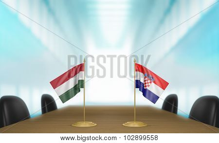Hungary and Croatia relations and trade deal talks 3D rendering