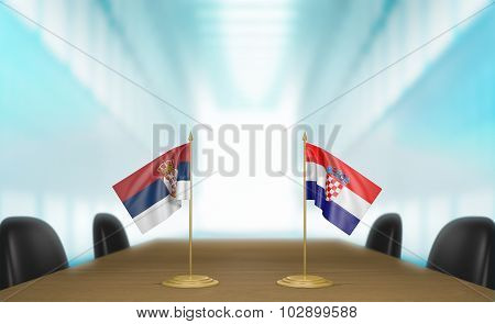 Serbia and Croatia relations and trade deal talks 3D rendering