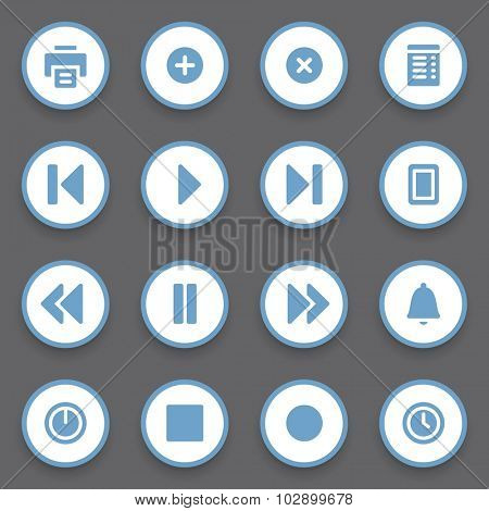 Media player web icons set
