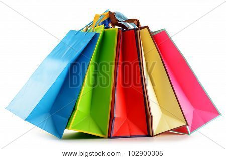 Colorful Paper Shopping Bags Isolated On White