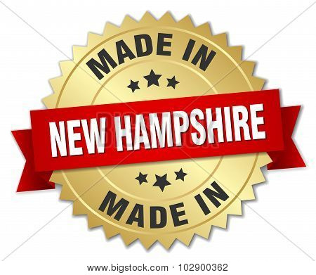 Made In New Hampshire Gold Badge With Red Ribbon