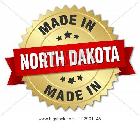 Made In North Dakota Gold Badge With Red Ribbon