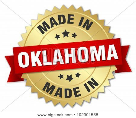 Made In Oklahoma Gold Badge With Red Ribbon