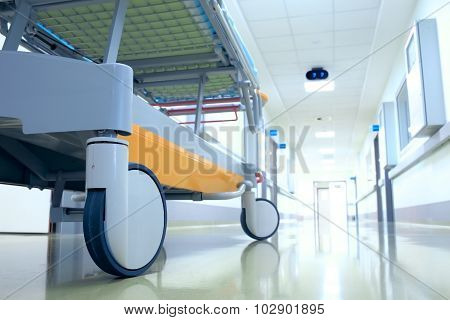 Stretcher (mobile Bed) In A Hospital Corridor Waiting For The Patient