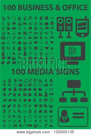 200 business, office, media icons