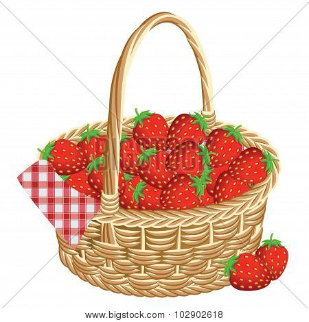 Basket Of Strawberries At A Picnic. Vector Illustration.