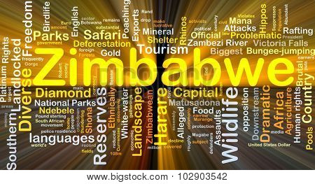 Background concept wordcloud illustration of Zimbabwe glowing light