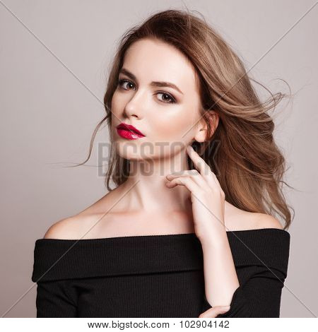Portrait Of Beautiful Blonde Woman With Curly Hairstyle And Bright Makeup.  Natural Look. Studio, Is