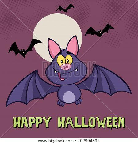 Smiling Vampire Bat Character Flying
