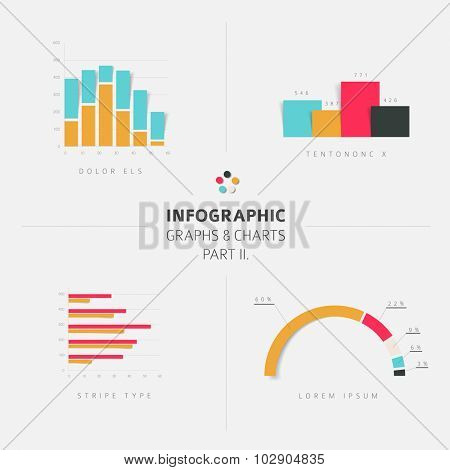 Set of vector flat design infographics statistics charts and graphs - fresh retro color version part 2