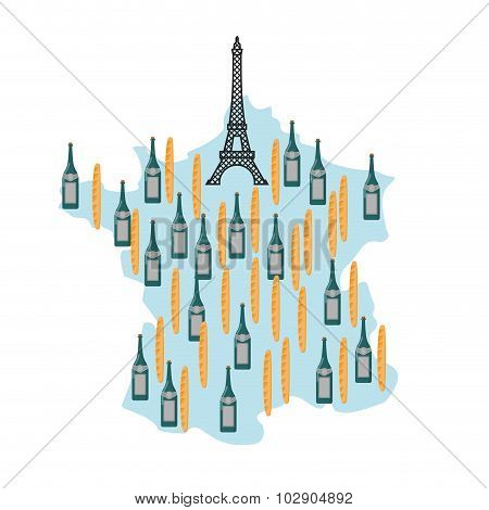 Map Of France With Eiffel Tower In Paris. National French Food: Baguette And French Wine. Landmarks