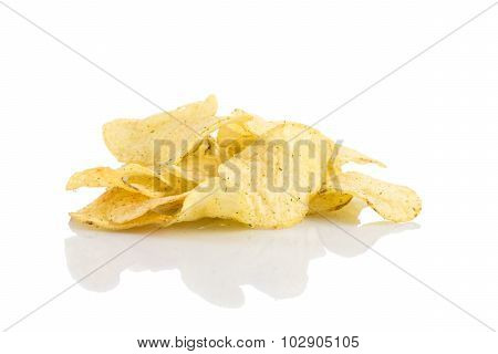 Prepared Potato Chips Snack Closeup View