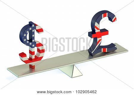 Dollar Or Pound Sterling, Usd/gbr Balance Concept