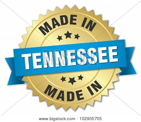 Made In Tennessee Gold Badge With Blue Ribbon