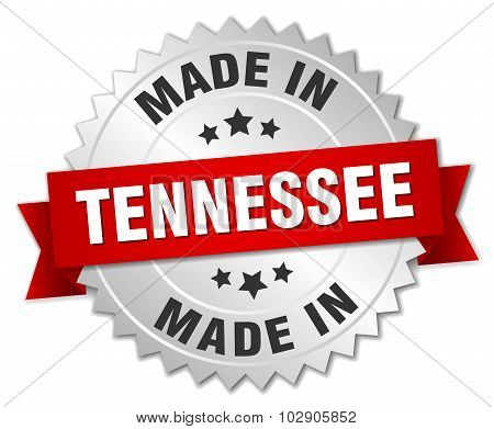 Made In Tennessee Silver Badge With Red Ribbon