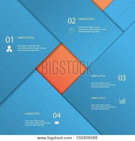Infographics template with material design background. Menu options for business presentation.