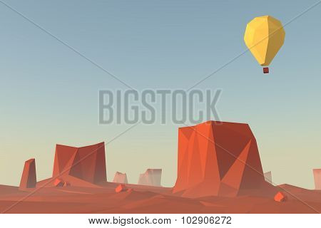 Low poly landscape scene. Monument valley in USA illustration concept with flying balloon.