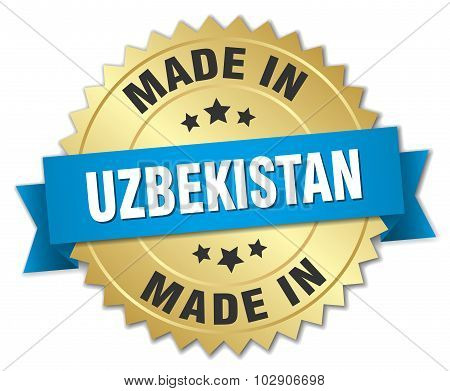 Made In Uzbekistan Gold Badge With Blue Ribbon