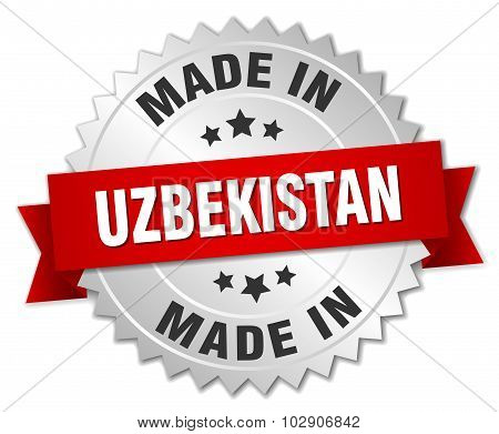 Made In Uzbekistan Silver Badge With Red Ribbon