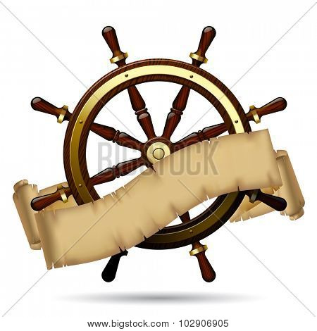 Vintage steering wheel with a parchment on the white background. Navigation symbol. Vector illustration