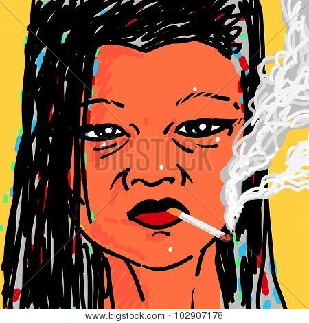 Woman smoking a cigarette Vector Illustration