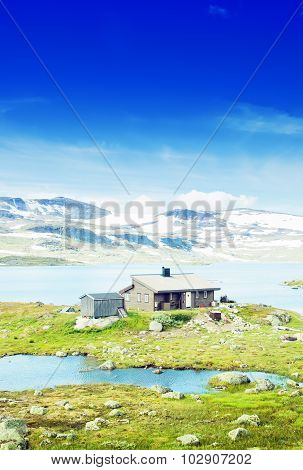 Lonely house in mountains