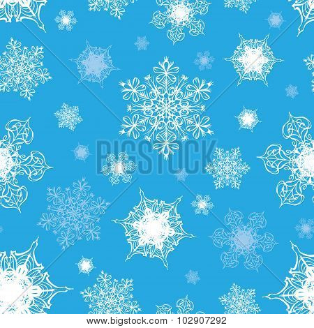 Vector Azure Blue White Ornate Snowflakes Seamless Pattern