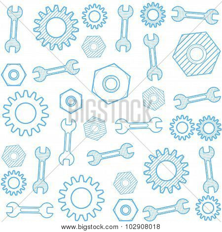 Vector Seamless Pattern With Gear And Wrench.
