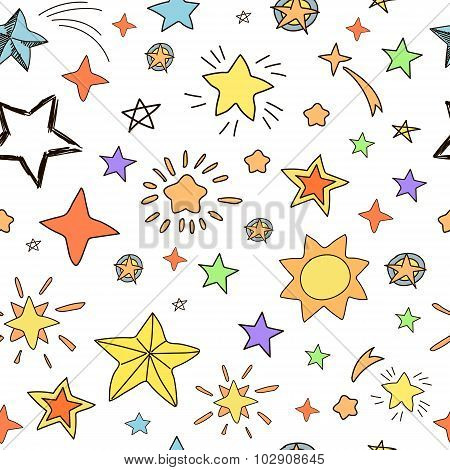 Collection of handdrawn stars  seamless pattern