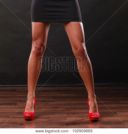 Red High Heels Spiked Shoes On Sexy Female Legs