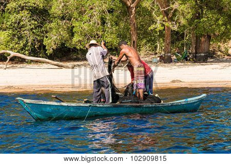 AMAZON, BRAZIL - CIRCA SEPTEMBER 2015: Fishermen on Rio Negro in Amazon, Brazil