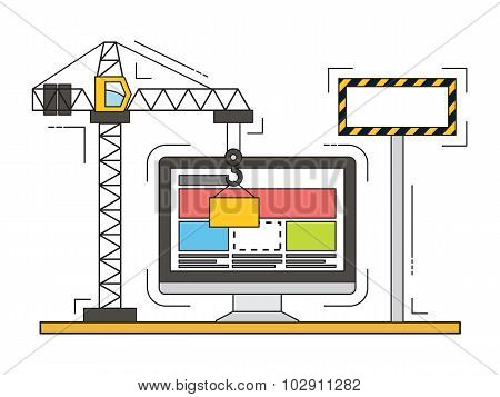 Thin line vector flat design of website under construction, web page building process.