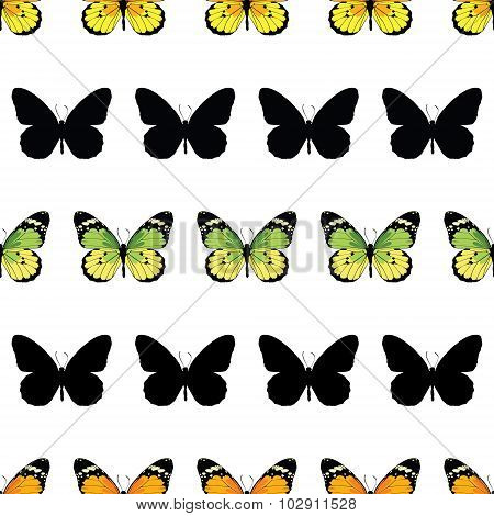 Vector Monarch Butterfly Stripes Seamless Pattern