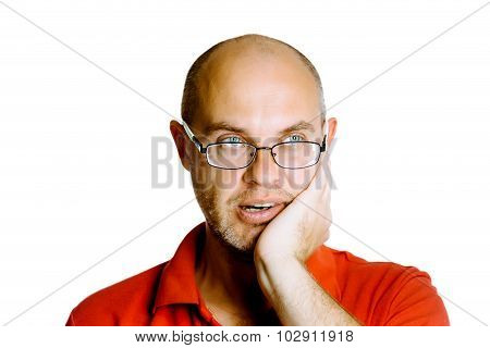 Unshaven Man With Glasses Holds On His Cheek. Toothache. Studio. Isolated