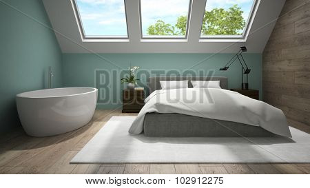 Interior of mansard bedroom with blue wall 3D rendering