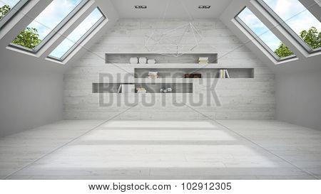 Empty light mansard room with shelf 3D rendering